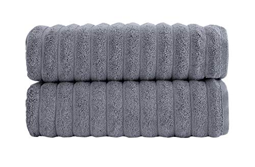 Luxury Bath Towel Collection Set – Combed Cotton Hotel and Spa Quality Bath Towels – Made with 100% Turkish Cotton Jacquard Rib Style – Made in Turkey (27X54 Bath Towels, Grey)