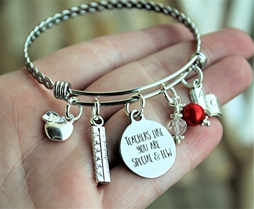 - Personalized Teacher Twisted Bangle Bracelet Graduate Graduation Gift Teachers like you are special and few quote choice of bead color, Handmade Teacher apple ruler book charm