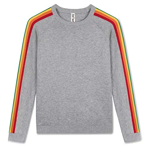 Kid Nation Kids Sweater Pullover Long Sleeve with Rainbow Stripe Size M - Pullover Sleeve Girls Long