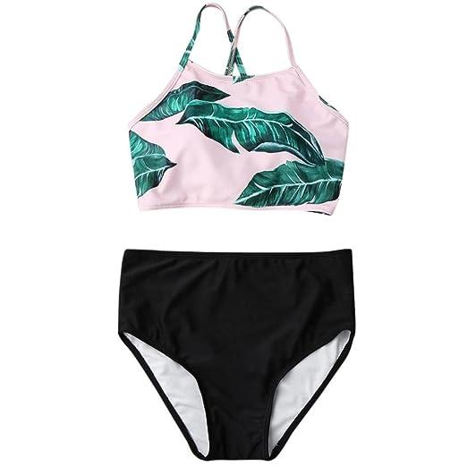 b1a714c759e IEason Women Falbala High-Waisted Bikini Set Push-up Swimsuit Bathing S (