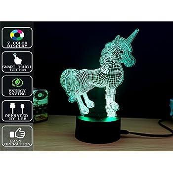 Amazon.com: Unicorn 3D Night Light Touch Table Lamp, Fipart 7 ...