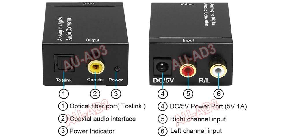 Analog RCA L/R Audio to Digital Optical S/PDIF Audio Converter