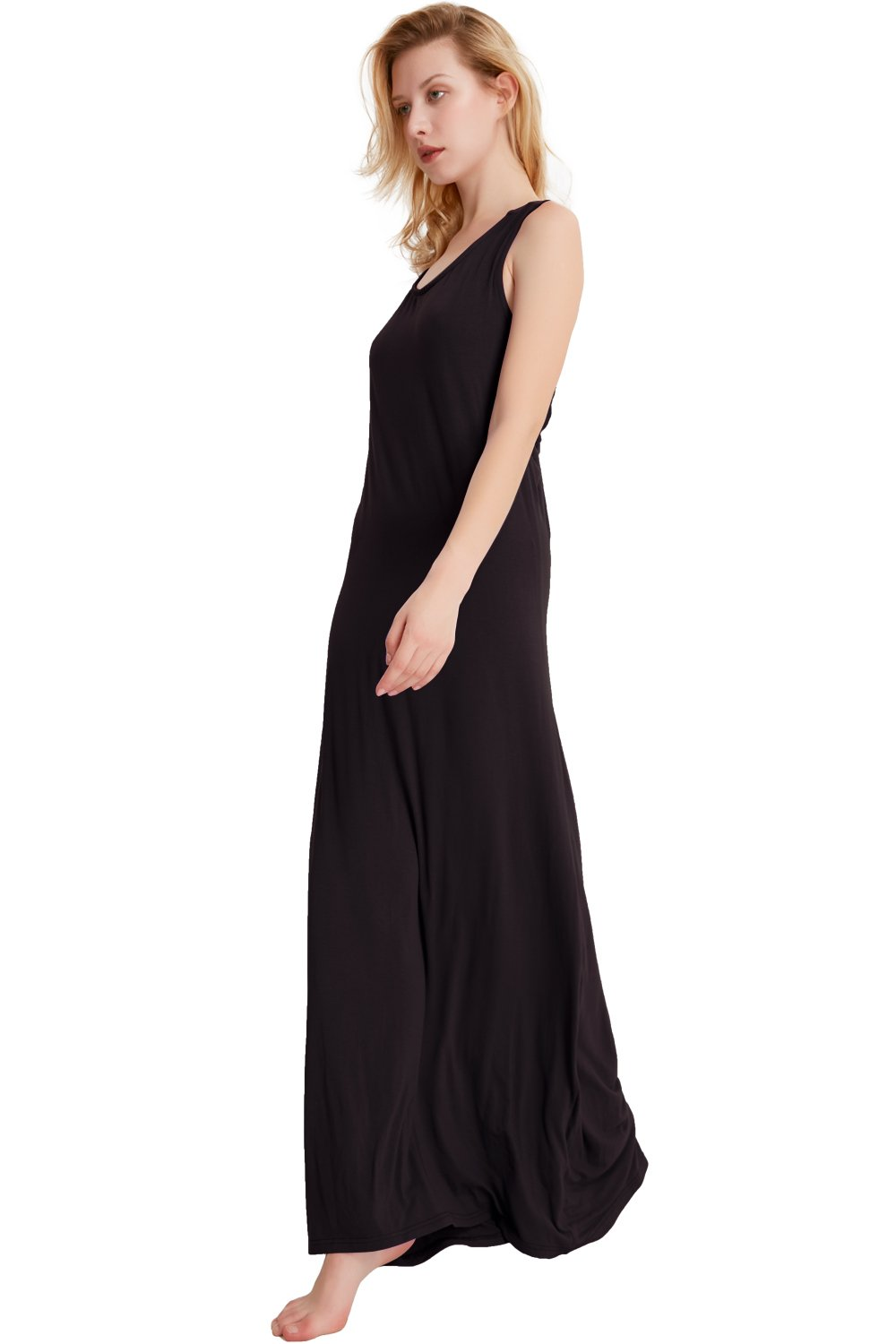 Jane Chen\'s Women\'s Round Neck Round Neck Sleeveless Sexy Backless Casual Maxi Dress (Black, XX-Large)