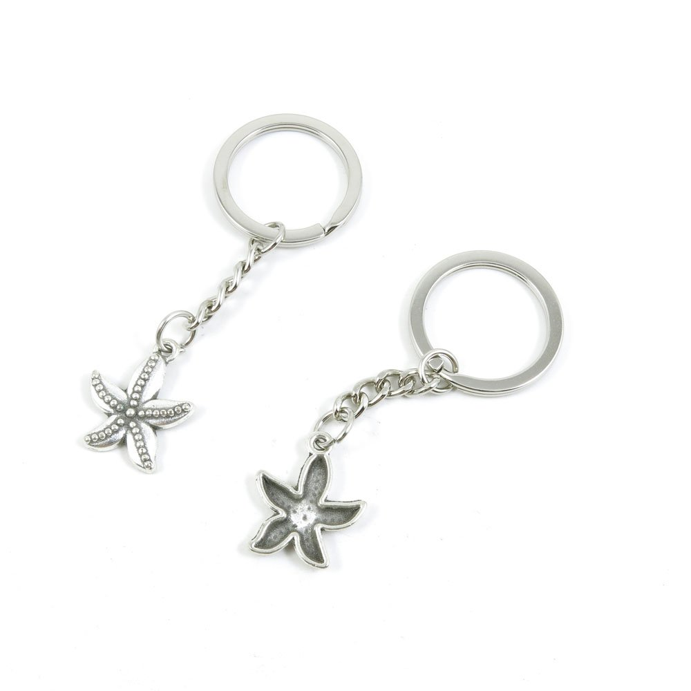 100 Pieces Keychain Door Car Key Chain Tags Keyring Ring Chain Keychain Supplies Antique Silver Tone Wholesale Bulk Lots V7IE7 Sea Star Starfish