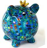 pomme-pidou Schwein Peggy blau mit Strichen Design A