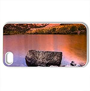 Amazing Sunset View, CA - Case Cover for iPhone 4 and 4s (Sunsets Series, Watercolor style, White)