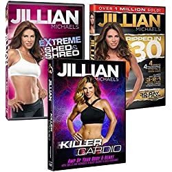 3 Pack Jillian Michaels Fitness DVD's Killer Cardio Extreme Shed And Shred Ripped In 30 (3)