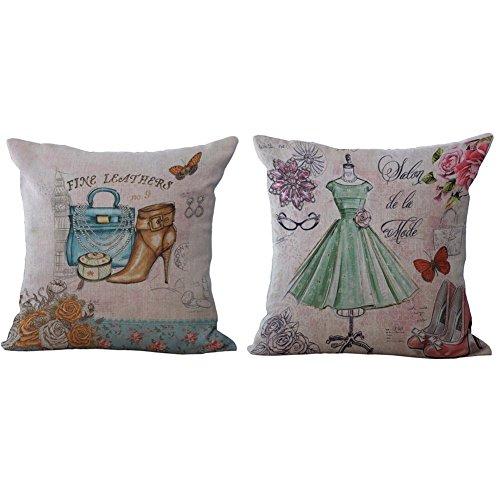 Pillow Seat Pattern Cover Cushion European Chair 18X18 Dresses Throw Back Retro inch Linen Square Romantic Case Cotton Covers Evening Pillowslip Pillow 8qwvIYqz