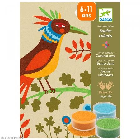 Djeco Colored Sand Art Kit, Birds of Paradise