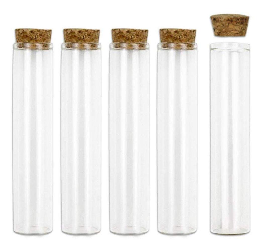 10PCS 60ml 2oz Glass Test Tube Bottles Vials Jars Container with Wood Cork Stoppers 60x30mm(2.36x1.1inch)