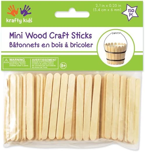Krafty Kids CW496 Craftwood Mini Craft Sticks, 2 .13in by 0.25in, Natural, 150-Piece