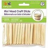 Krafty Kids CW496 Craftwood Mini Craft Sticks, 2 .13in by 0.25in, Natural, 150-Piece