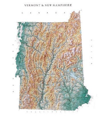 Amazon.com: Vermont and New Hampshire Topographic Wall Map by Raven ...