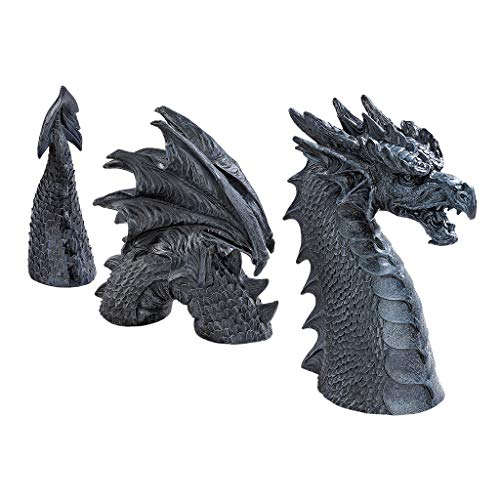 Design Toscano The Dragon of Falkenberg Castle Moat Lawn Garden Statue, 28 Inch Total, Polyresin, Grey Stone ()