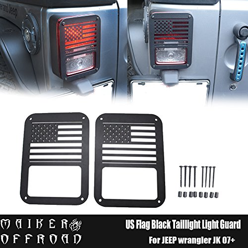 MAIKER Jeep Wrangler Accessories USA Flag Tail Light Guards Cover for 2007 – 2017 Jeep Wrangler Unlimited JK