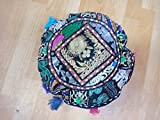 Indian 18'' Pillow Throw,Handmade Cushion Cover Cotton Floor Cushion Cover Vintage Embroidered Patchwork Meditation Floor Pillow Seat Pouf Cover,Living Room Vintage Patchwork Cushion Cover,