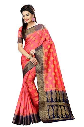Designer Sarees Woven Work Banarasi Art Silk Saree for women With Unstitched Blouse Piece (Peach)