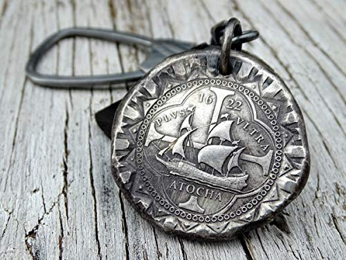 silver Atocha coin keychain silver coin key chain, silver shipwreck coin big keyring silver key holder, mens anniversary gift for him