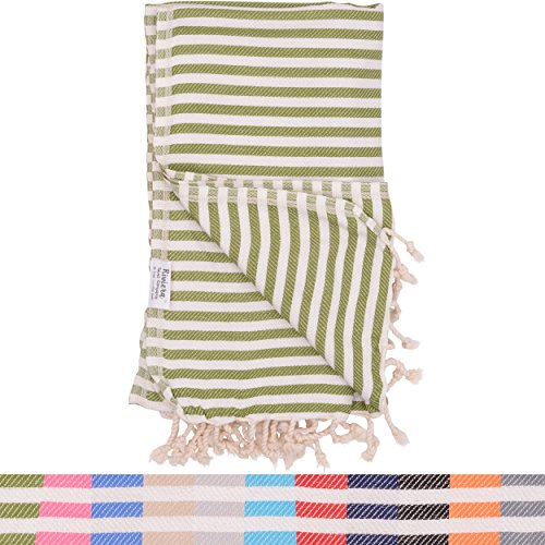 Olive Green Striped Turkish Towel - Naturally Dyed 100% Cotton-70x39 inches - Beach Towel Bath Pool Yoga Pilates Picnic Blanket Scarf Peshtemal Hammam - Miami Beach Outlet