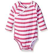 aden + anais Baby Long Sleeve Kimono Body Suit, Pink Blazer Stripe, 3-6 Months