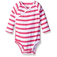 aden + anais Baby Long Sleeve Kimono Body Suit, Pink Blazer Stripe, 3-6 Month...