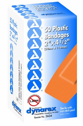 (Dynarex Adhesive Plastic Bandage, Extra Large, 2 Inches x 4.5 Inches, Sterile, 50 Count (Pack of 2))