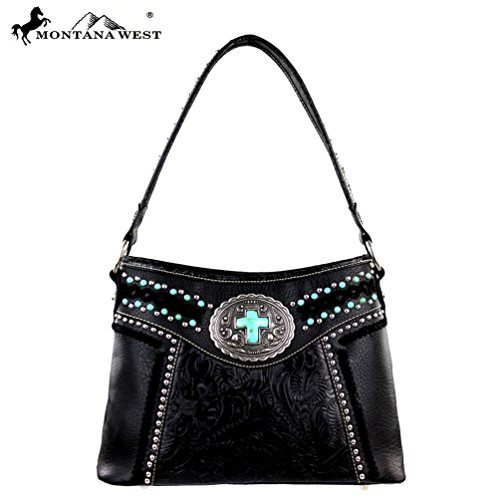 Price comparison product image Montana West Antique Silver Concho Cross Studded Purse Black MW185-918