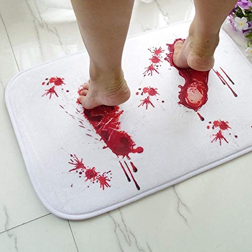 (Adel store Bathroom Mat Horror Bloody Footprints Halloween Floor Rug Carpets Tricking)