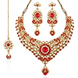 I Jewels Indian Gold Plated Kundan Necklace Set with Maang Tikka for Women K7023R (Red)