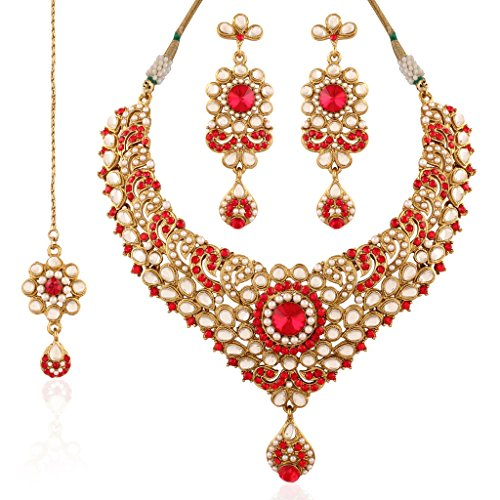 I Jewels Indian Gold Plated Kundan Necklace Set with Maang Tikka for Women K7023R (Red) by I Jewels
