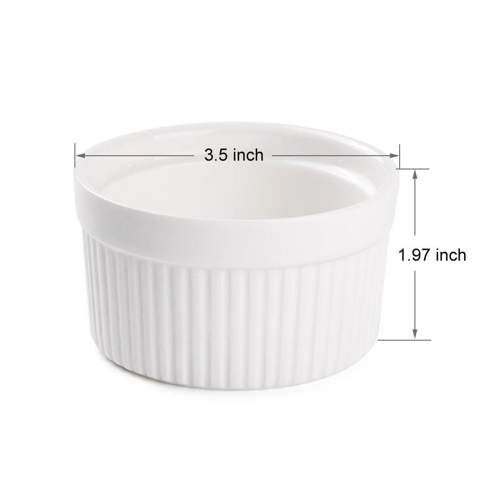 Accguan Set of 8 PCS 6 oz Round Porcelain Oven Safe Ramekin Dessert Souffle Baking Dish(3.5 INCHES) (White) by Accguan (Image #3)