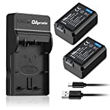 OAproda Replacement NP-FW50 Battery (2 Pack) and Ultra Slim Micro USB Charger for Sony Alpha 7 7R 7S a7R a7S a5000 a5100 a6000 a6300 NEX-3 NEX-3N NEX-5 NEX-5N NEX-5R NEX-5T NEX-6 NEX-C3 NEX-F3 RX10