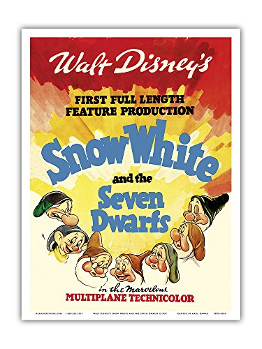 Walt Disney's Snow White and the Seven Dwarfs - First Full Length Feature Production - Vintage Film Movie Poster c.1937 - Master Art Print - 9in x 12in