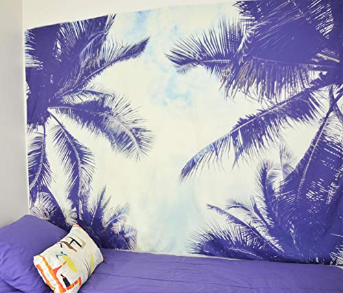 Beach Tapestry - Palm Tree Leaves Leaf surf Hawaiian Tropical Cool Wall Hanging Decor Trippy Outdoor Hawaii Sunset for Dorm Room College, Boho Psychedelic Wall Decorations for Bedroom (6.5 ft x 5 ft)
