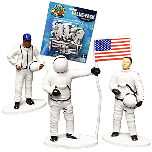 US Toy Plastic Astronaut Toy Figurines (1 Dozen), 2-1/2""