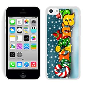 Iphone 5C Case,Colorful Snowflake Merry Christmas White Cover Case Fit Iphone 5C Cover by Maris's Diary