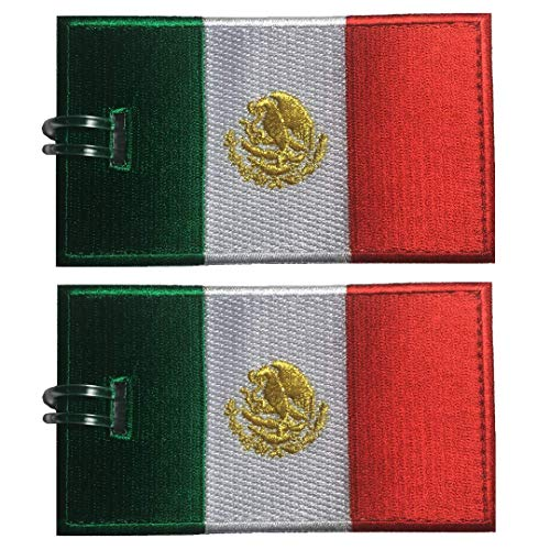 Luggage Tags, Mexico Flag, Embroidered, 2 Pack, 15 COLORS, NEVER BREAK! -