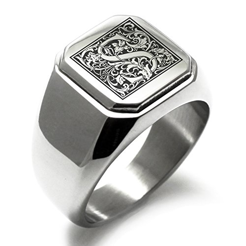 Stainless Steel Letter S Alphabet Initial Floral Monogram Engraved Square Flat Top Biker Style Polished Ring, Size - S Square