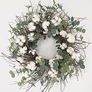 Idyllic Round Wreath for Front Door 20″ Cotton Garland Wreath with Round Leaf Spring & Summer Vintage Wreath Farmhouse Decor Outdoor & Indoor
