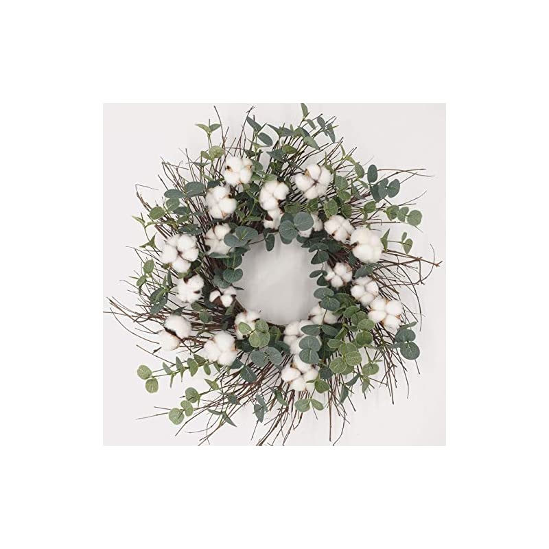 """silk flower arrangements idyllic 20"""" round wreath with cotton, for front door cotton garland wreath with round leaf vintage wreath farmhouse decor indoor"""