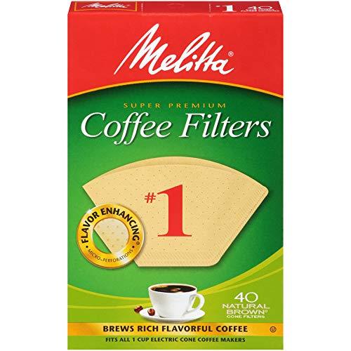 Melitta (620122) Super Premium No. 1 Cone Coffee Filters, Natural Brown, 40 Count