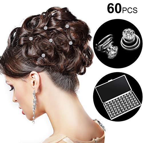 - 60 Pieces Rhinestone Crystal Twisters Set Spiral Hair Pin Silver Coil for Wedding, Bridal, Prom, Party and Special Occasion with Clear Container