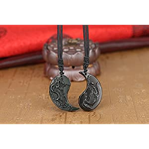coai Obsidian Dragon Phoenix Yin Yang Pendant Necklaces for Couples