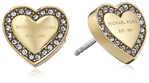Michael Kors Gold Tone Signature Heart Stud Earrings from Michael Kors