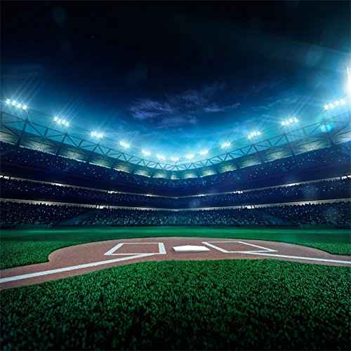 Leowefowa Vinyl 5X5FT Green Baseball Field Backdrop Sports Theme Interior Stadium Backdrops for Photography Sports Meeting School Game Wallpaper Studio Props]()