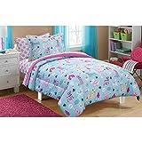 7 Piece Aqua Blue Pink Puppy Love Dogs Comforter Set Full Size