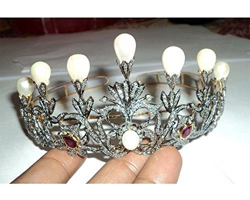 Pave Designer Rose Cut Diamond Tiara - Wedding Rose Cut Diamond Crown - 925 Sterling Silver Tiara Crown - Diamond 925 Silver Tiara - Handmade Tiara - Hair Jewelry by Vinita Jewels