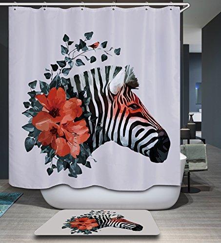 Zebra Red Flowers Shower Curtain