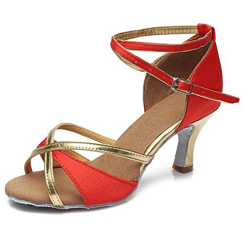 YFF Der Hot Sale Großhandel Frauen Mädchen Latin Dance Shoes Ballroom Tango Salsa Schuhe für Frauen tanzen Schuhe 4 Farbe Red 7cm