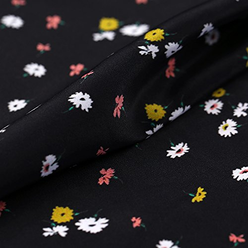 Black 100% Pure Silk Crepe De Chine Fabric with Small Floral Print By The Yard, 44